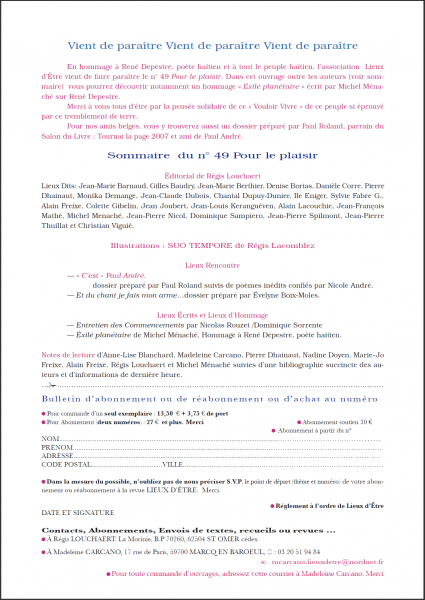 """Revue littéraire Lieux d'Etre - Numéro 49 """"Pour le plaisir"""" - Annonces """"Vient de paraître"""" dans Liens amis lieuxdtre49vientdeparaitre"""